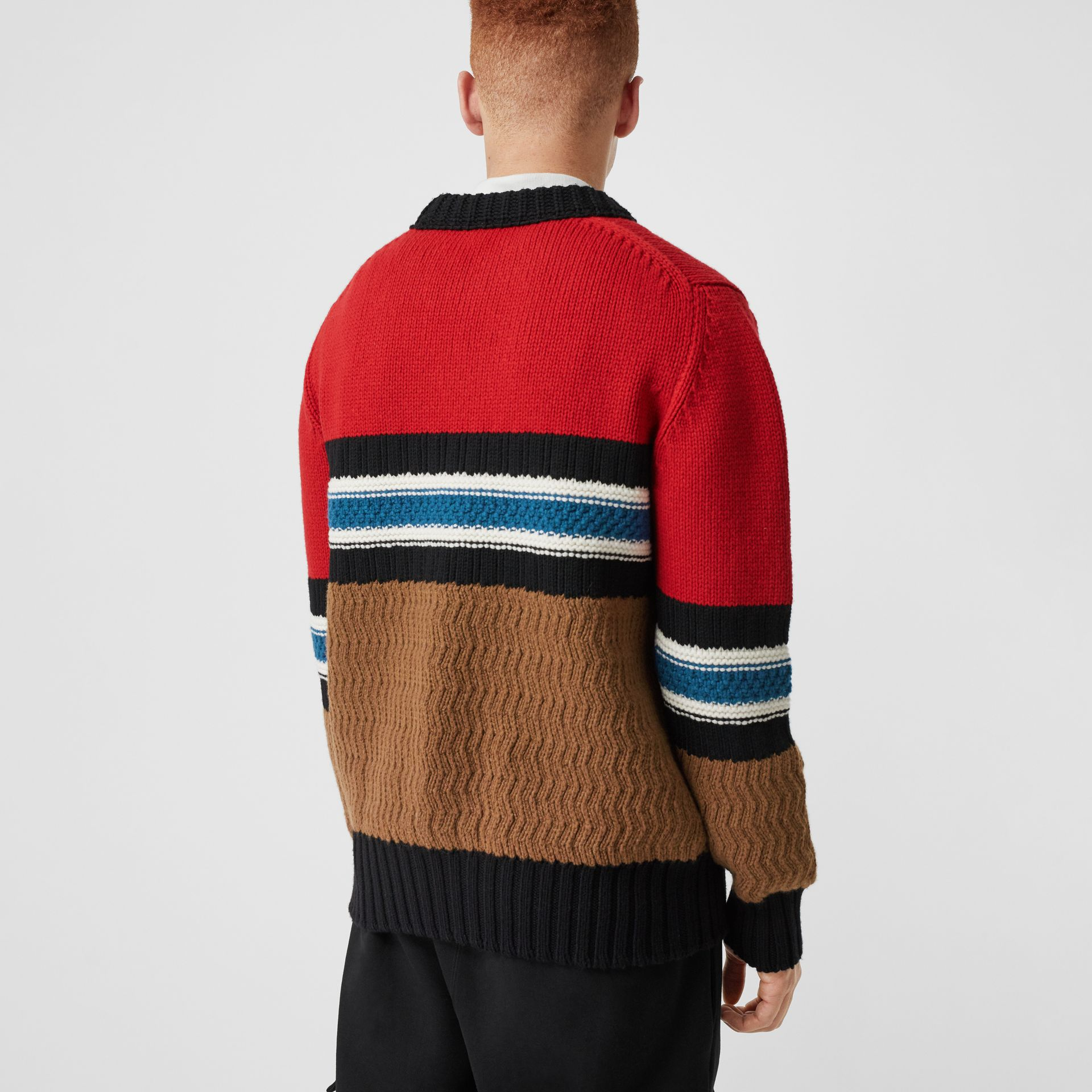 Striped Wool Cashmere Sweater in Bright Red - Men | Burberry Australia - gallery image 2