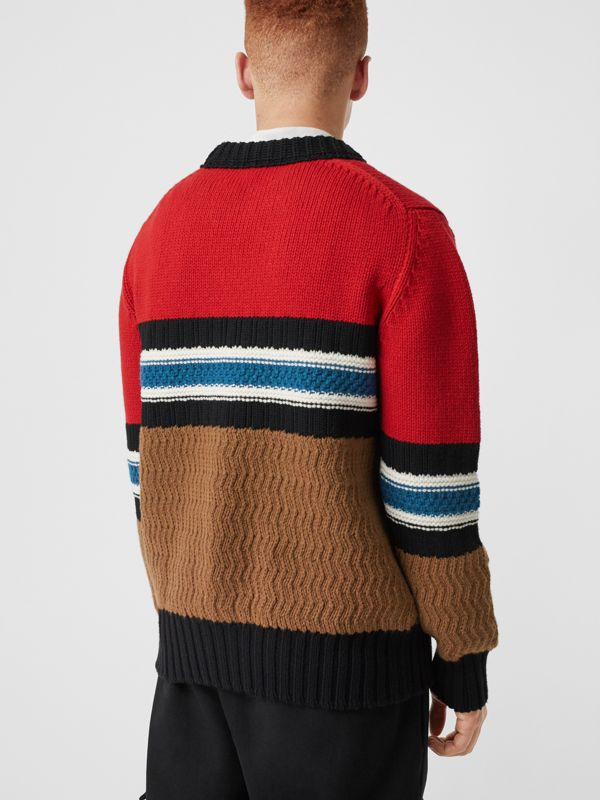 Striped Wool Cashmere Sweater in Bright Red - Men | Burberry Australia - cell image 2