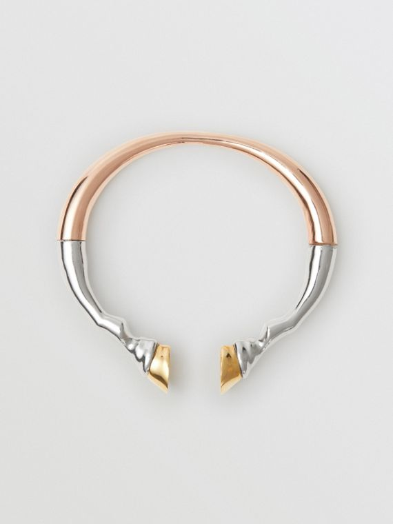 Rose Gold and Palladium-plated Hoof Cuff in /palladium/light