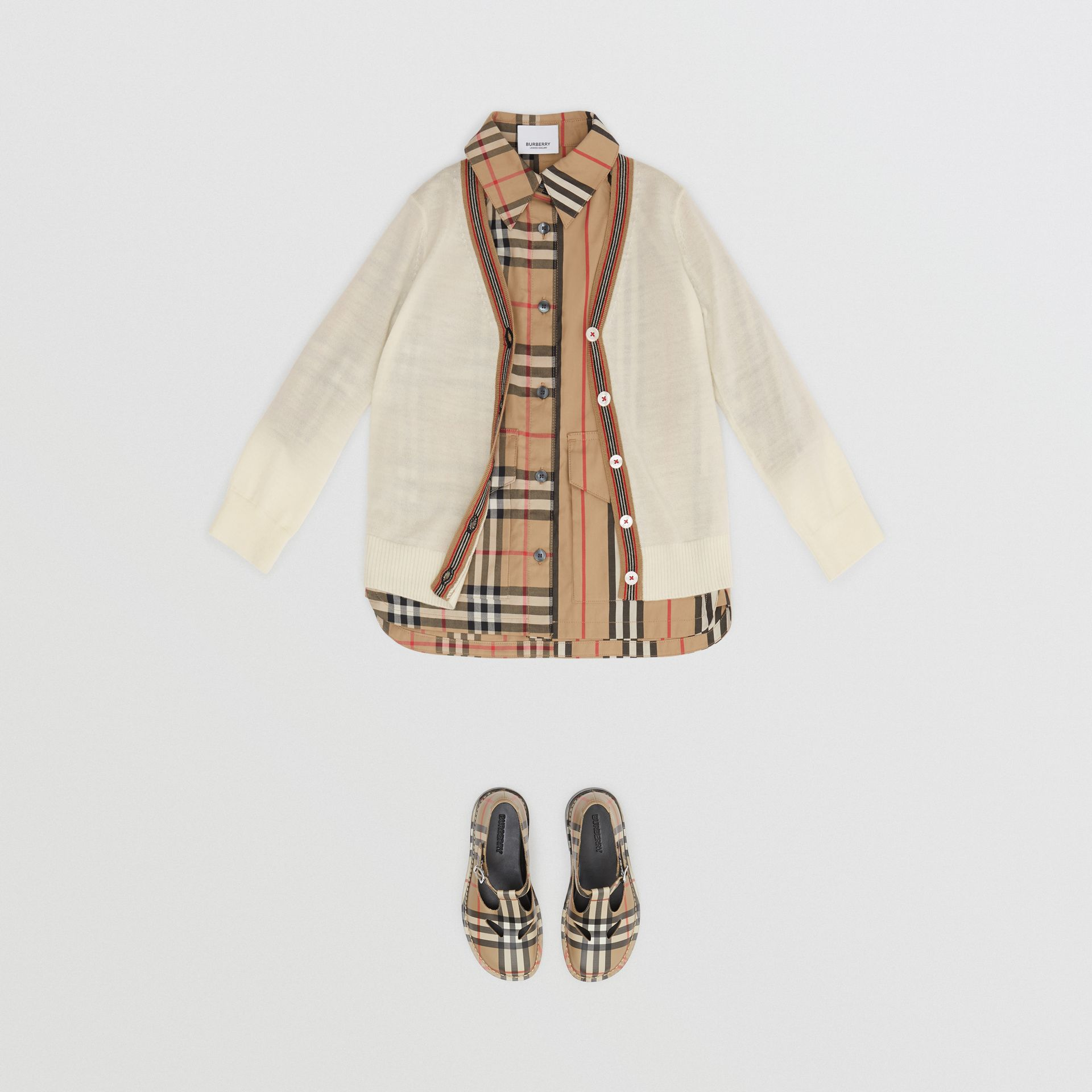 Icon Stripe Detail Merino Wool Cardigan in Ivory - Children | Burberry United Kingdom - gallery image 2