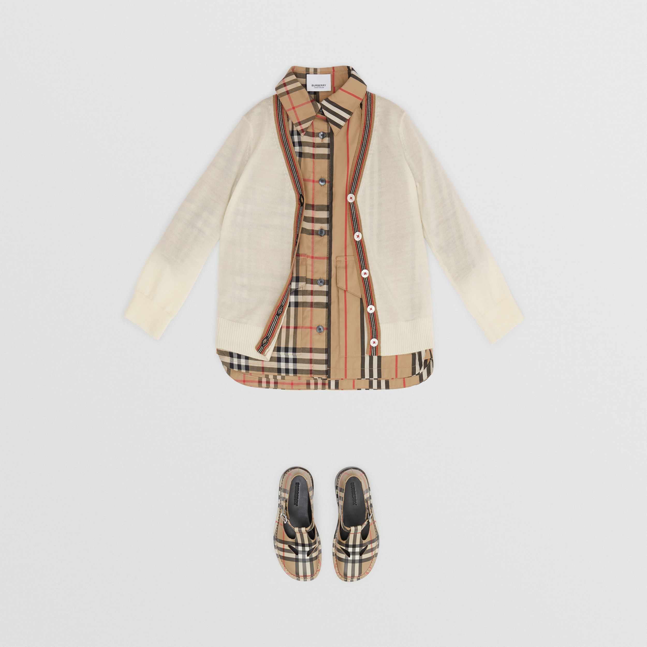 Icon Stripe Detail Merino Wool Cardigan in Ivory - Children | Burberry United Kingdom - 3