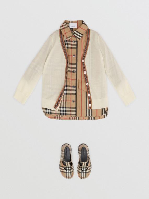 Cardigã de lã merino com detalhe de listras icônicas (Marfim)