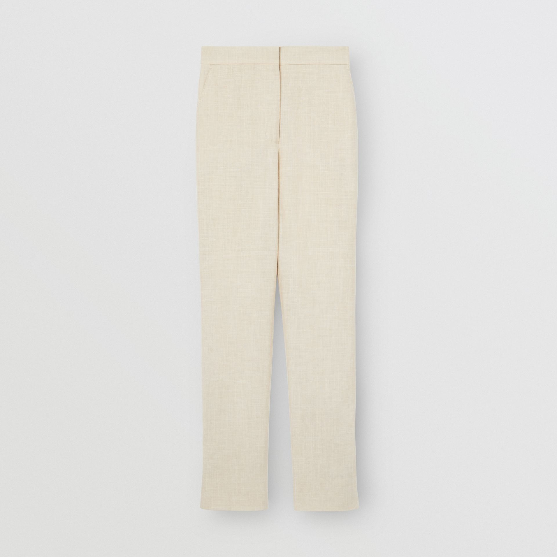 Stripe Detail Wool Silk Linen Tailored Trousers in Sesame - Women | Burberry United States - gallery image 3