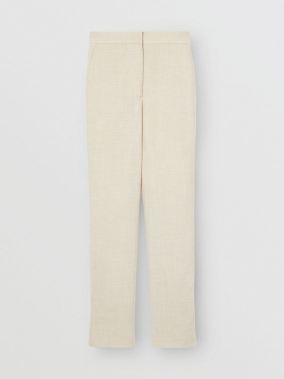 Stripe Detail Wool Silk Linen Tailored Trousers in Sesame