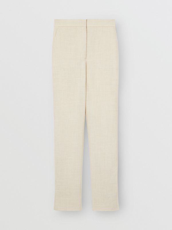 Stripe Detail Wool Silk Linen Tailored Trousers in Sesame - Women | Burberry - cell image 3