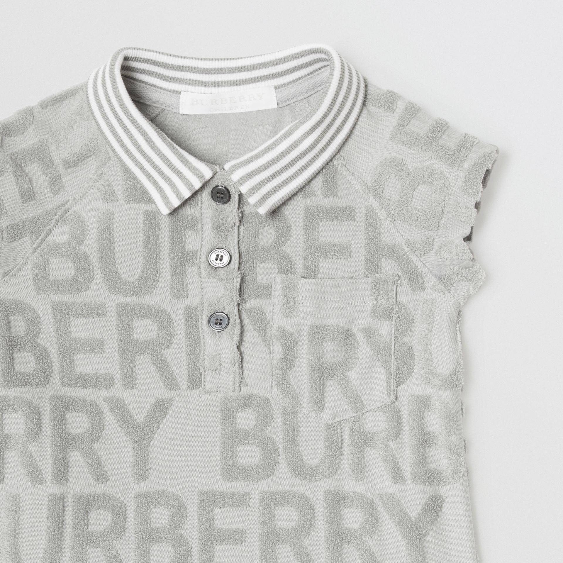 Logo Towelling Polo Dress in Pale Grey - Children | Burberry - gallery image 4