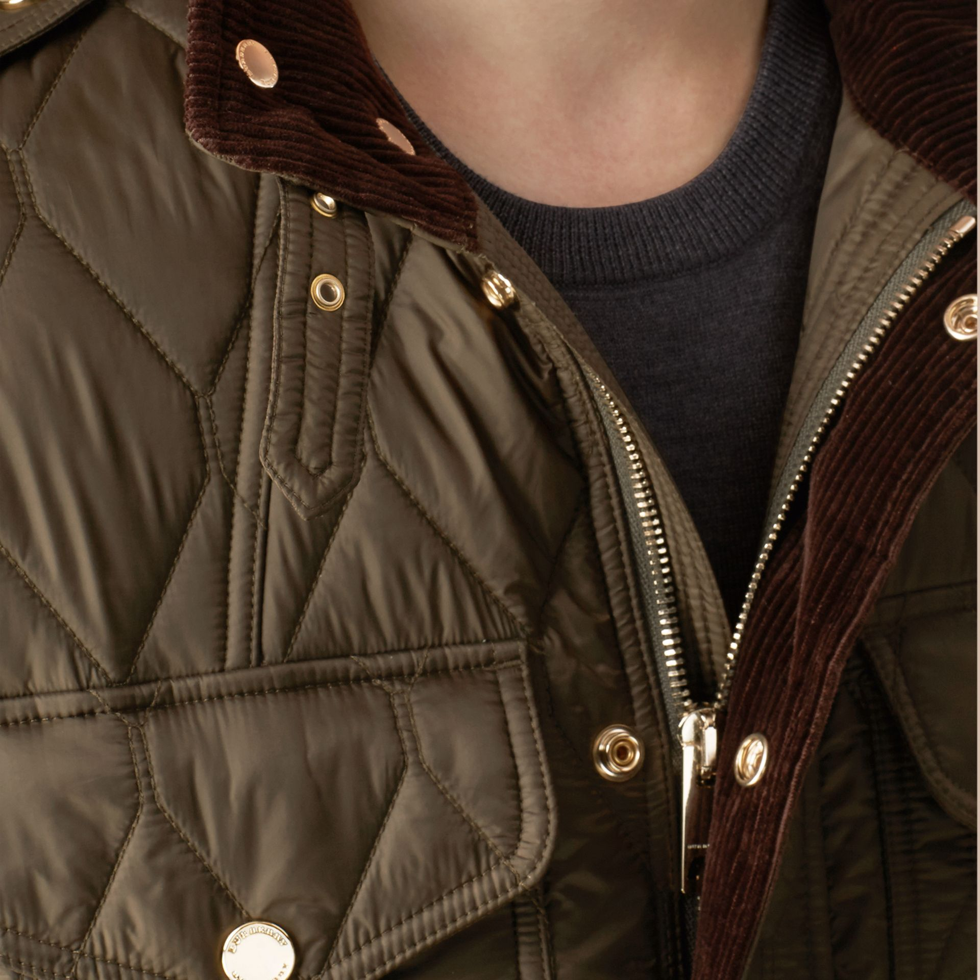 Oregano Diamond Quilted Field Jacket Oregano - gallery image 4