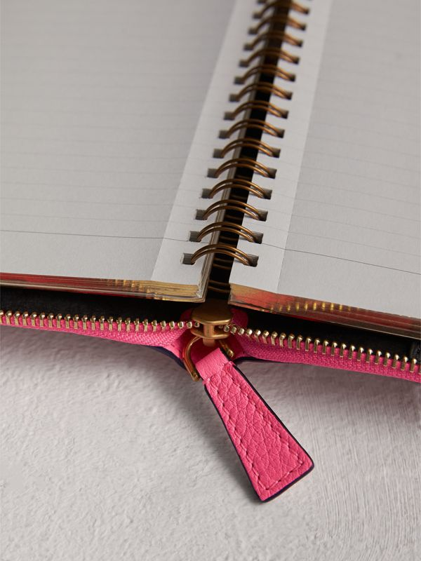 Embossed Grainy Leather Ziparound A6 Notebook Case in Bright Pink | Burberry - cell image 3