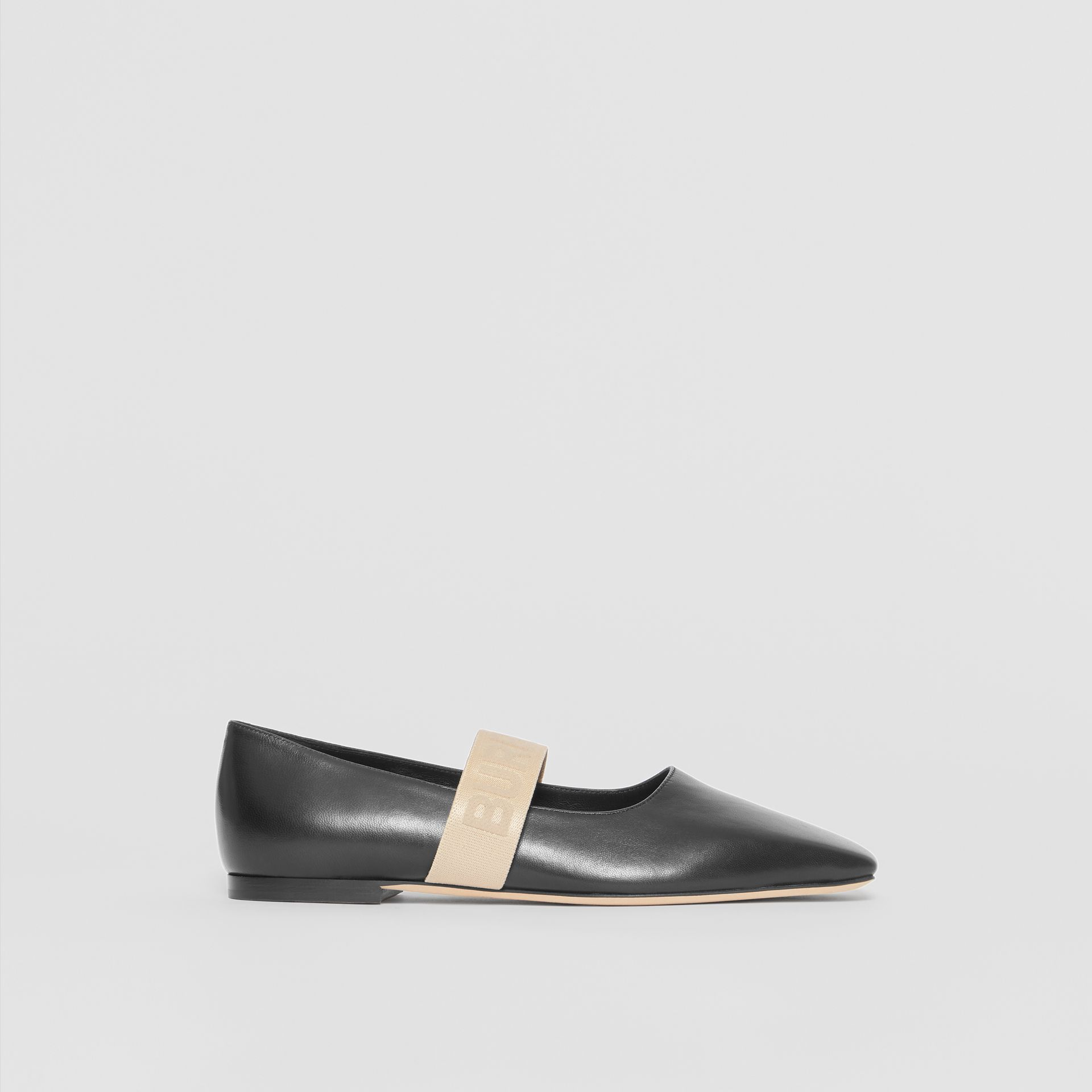 Logo Detail Lambskin Flats in Black - Women | Burberry Singapore - gallery image 5