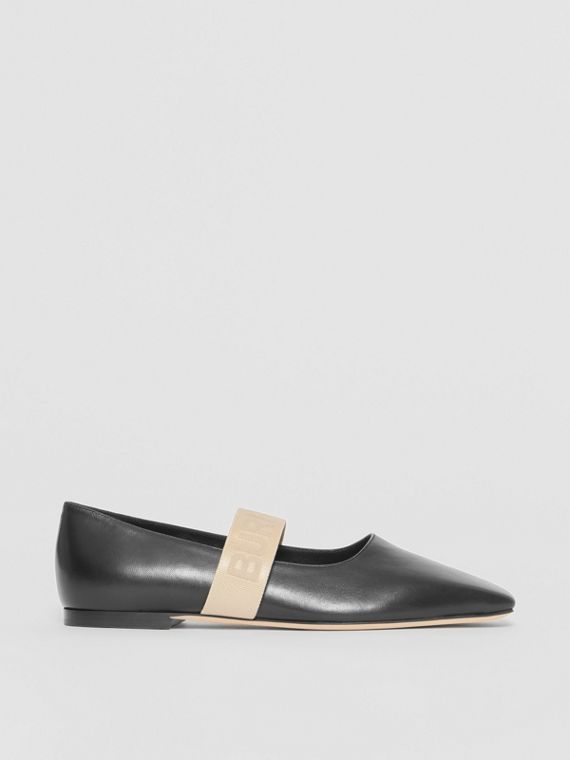 Logo Detail Lambskin Flats in Black