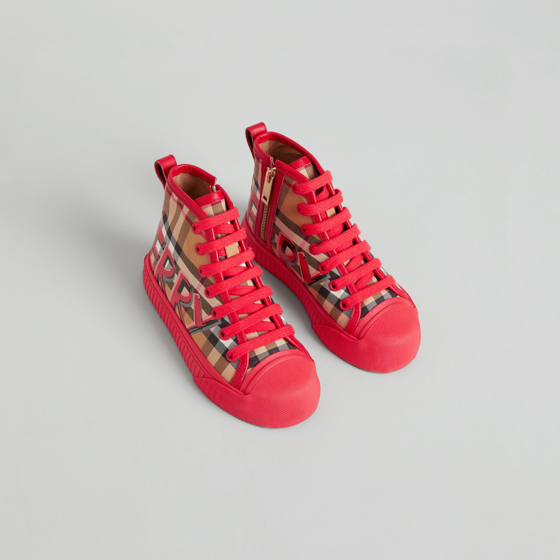 Graffiti Vintage Check High-top Sneakers in Bright Red | Burberry - gallery image 0