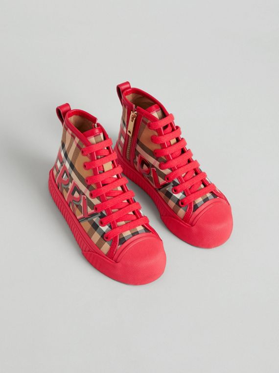 Graffiti Vintage Check High-top Sneakers in Bright Red