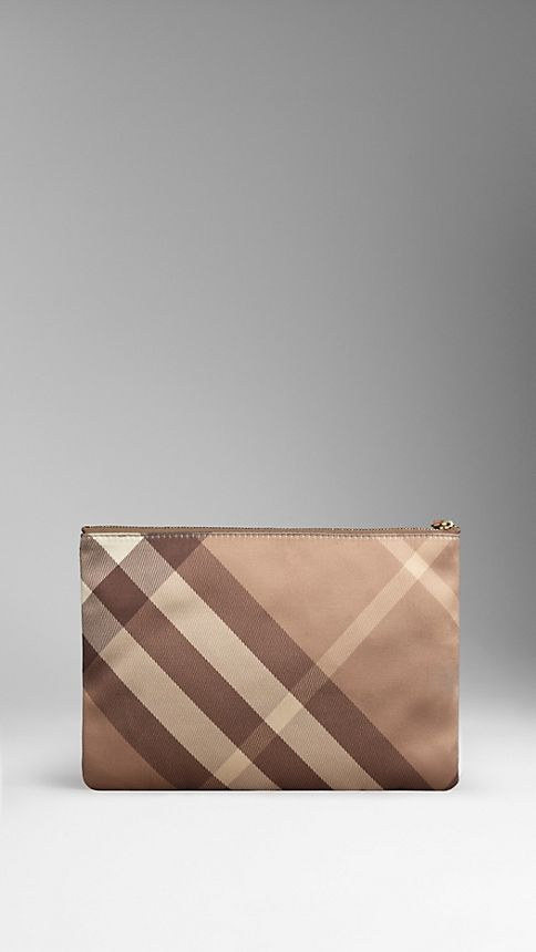 Nude Large Check Silk Satin Beauty Wallet - Image 2