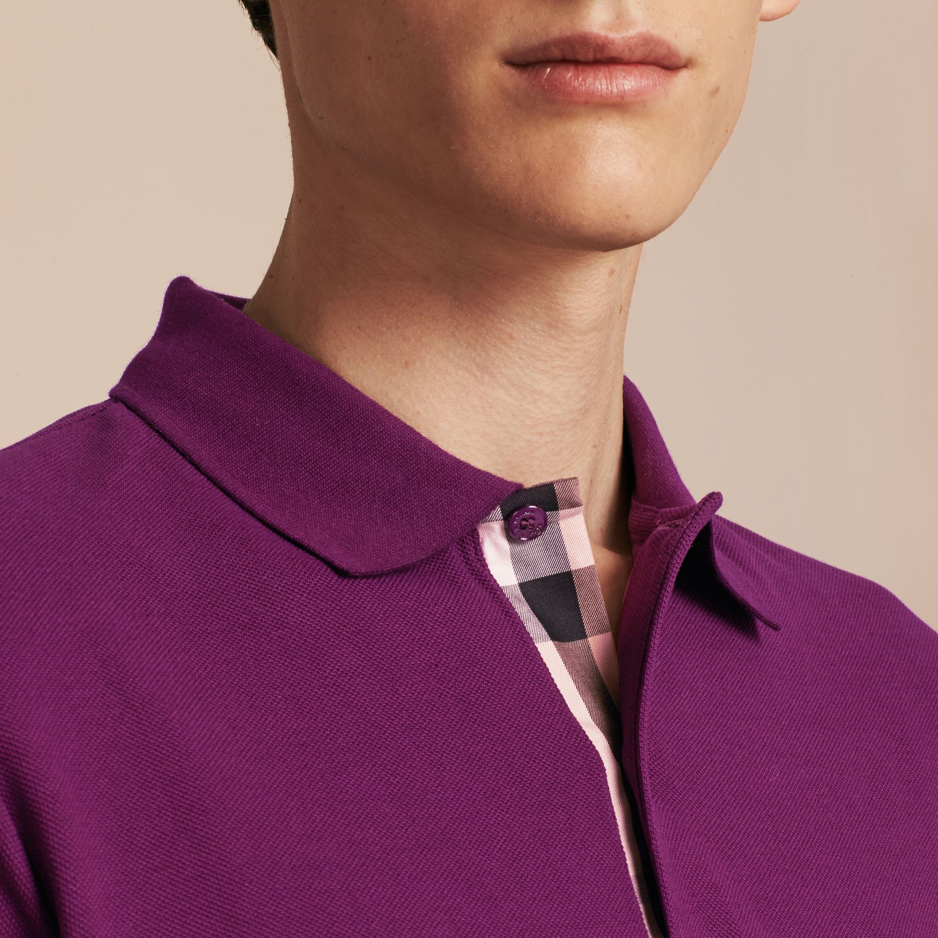 Check Placket Cotton Piqué Polo Shirt in Deep Purple Amethyst - gallery image 5
