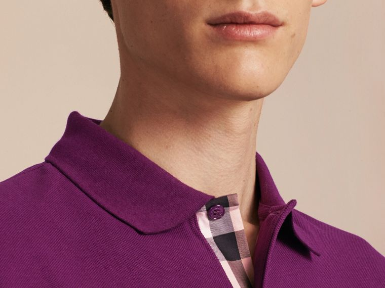 Check Placket Cotton Piqué Polo Shirt in Deep Purple Amethyst - cell image 4