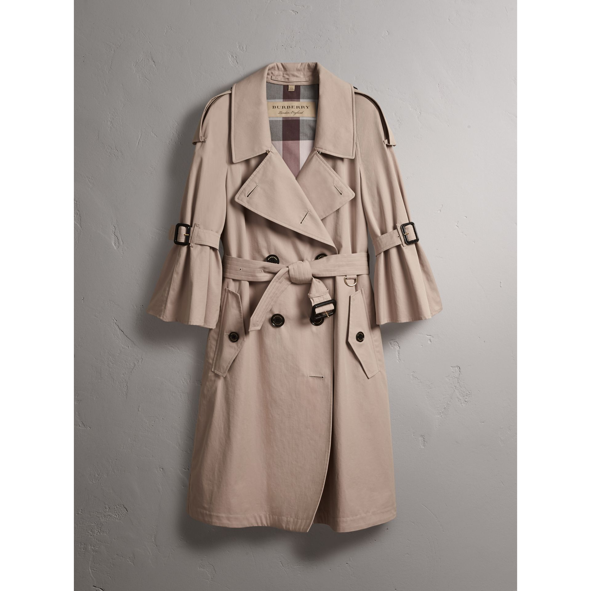 Flared Sleeve Tropical Gabardine Trench Coat - gallery image 4