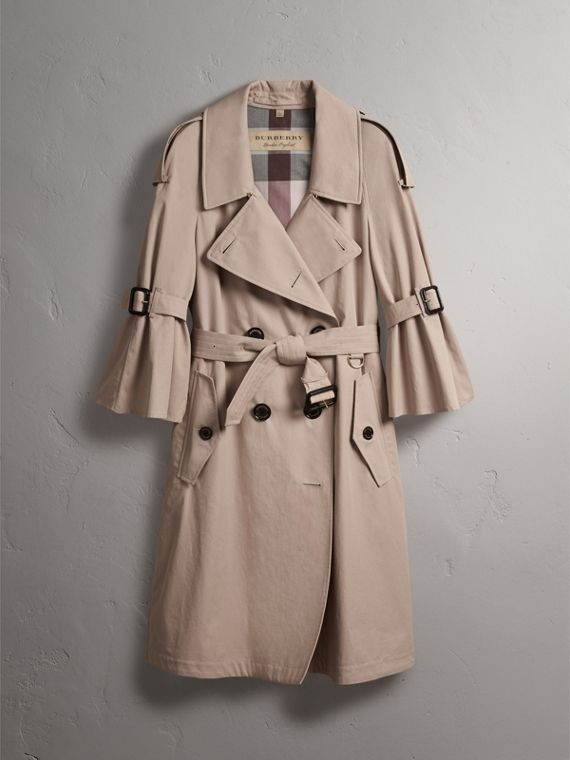 Flared Sleeve Tropical Gabardine Trench Coat in Antique Taupe Pink - Women | Burberry - cell image 3
