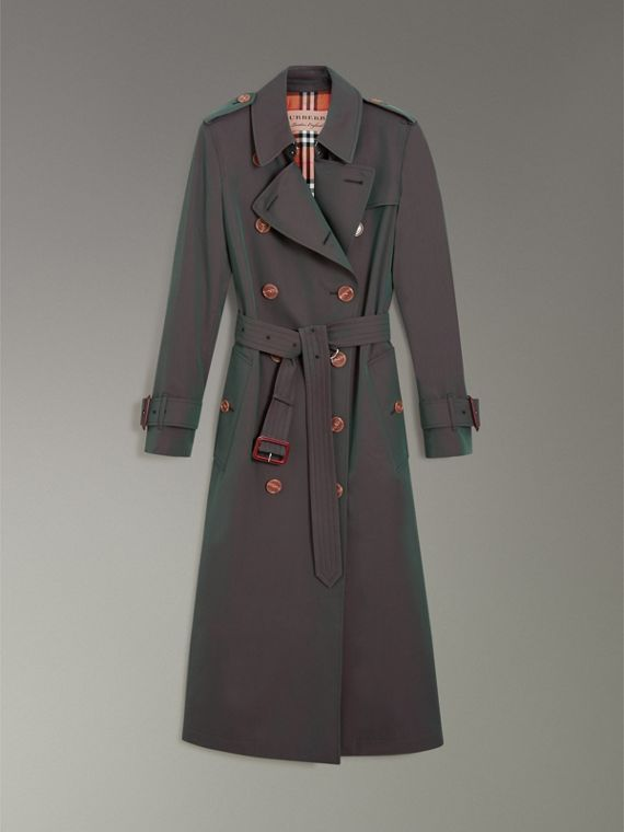 Tropical Gabardine Trench Coat in Dark Antique Green - Women | Burberry - cell image 3