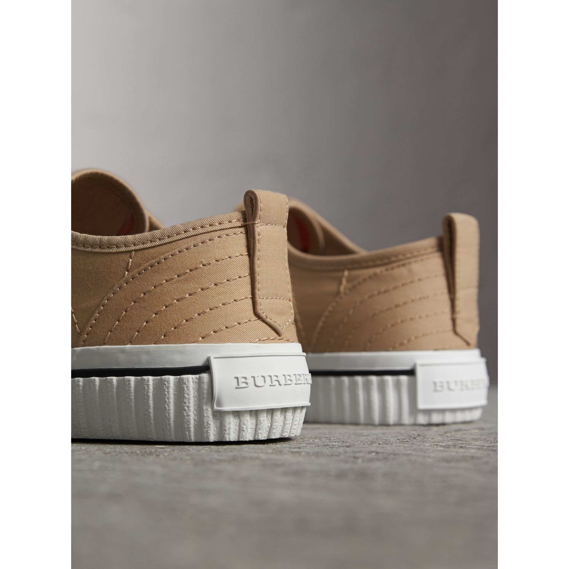 Topstitched Cotton Gabardine Trainers in Honey - Men | Burberry - gallery image 3