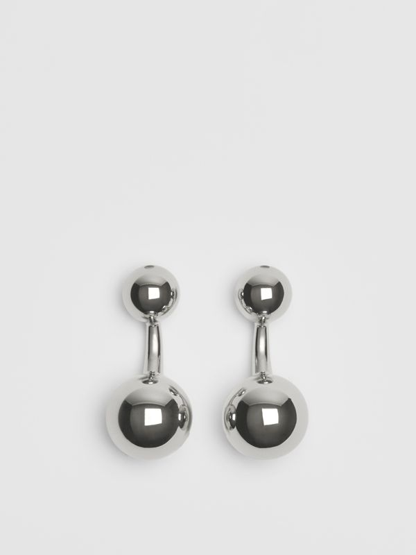 Engraved Brass Sphere Cufflinks in Silver - Men | Burberry United Kingdom - cell image 2