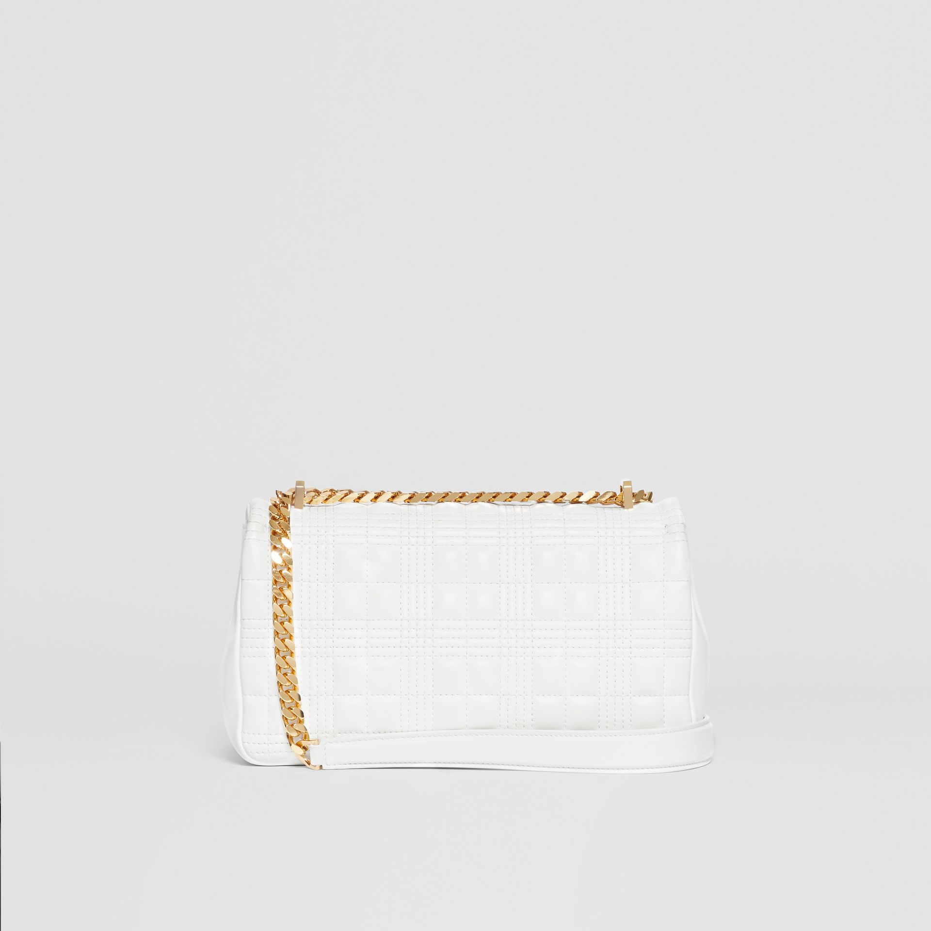 Small Quilted Check Lambskin Lola Bag in White | Burberry - gallery image 6