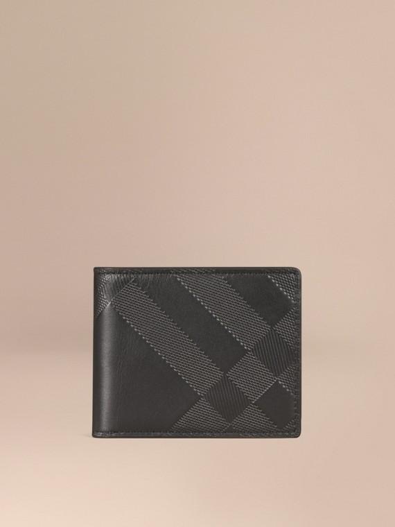 Portefeuille à rabat en cuir avec motif check estampé