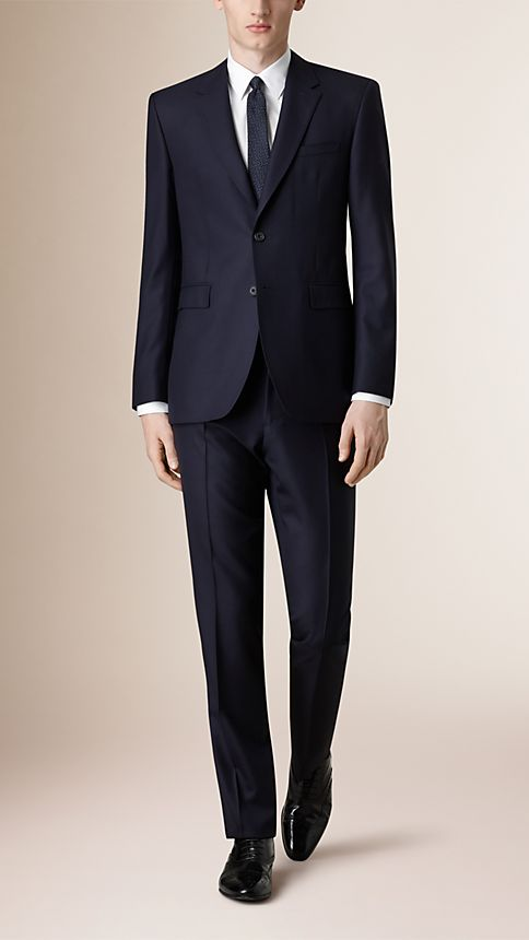 Navy Classic Fit Wool Part-canvas Suit - Image 1