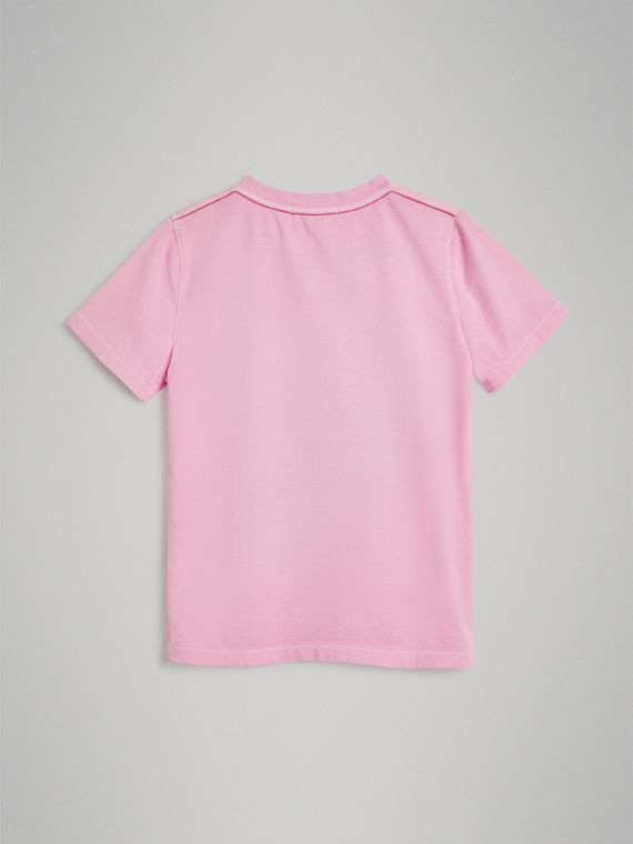 London Street Art Print Cotton T-shirt in Bright Pink - Girl | Burberry - cell image 3