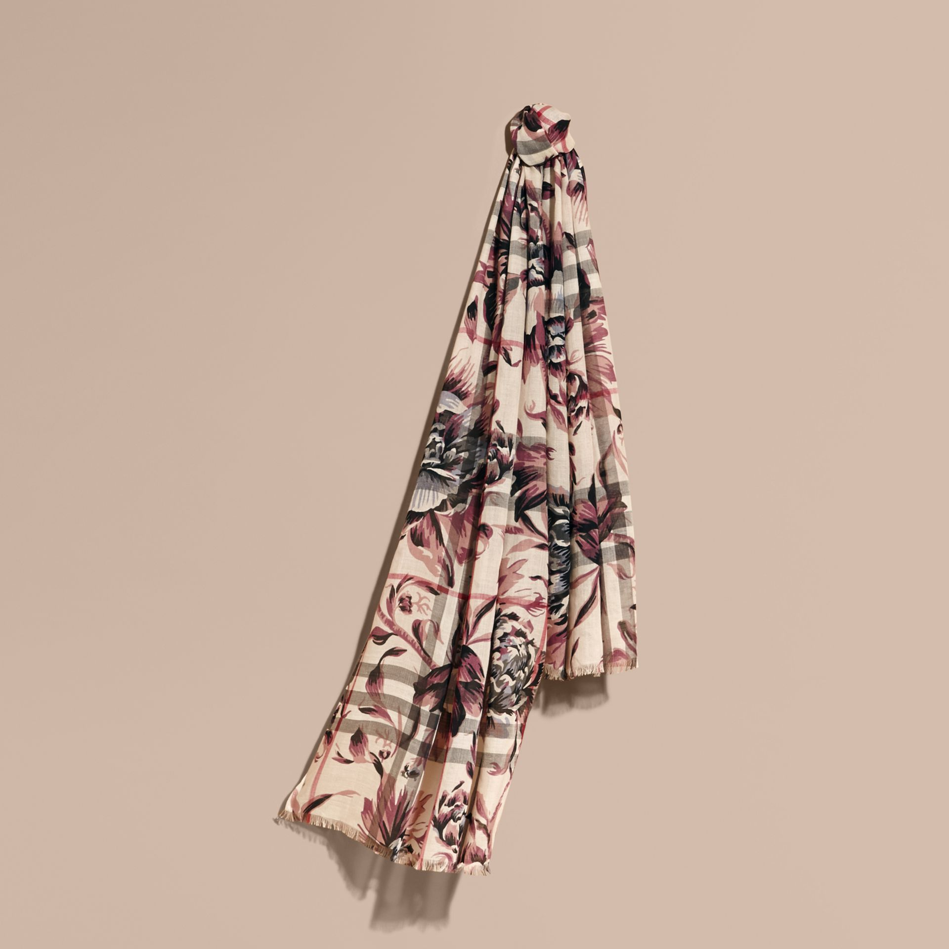 Peony Rose Print Check Wool Silk Scarf in Stone/ash - gallery image 1