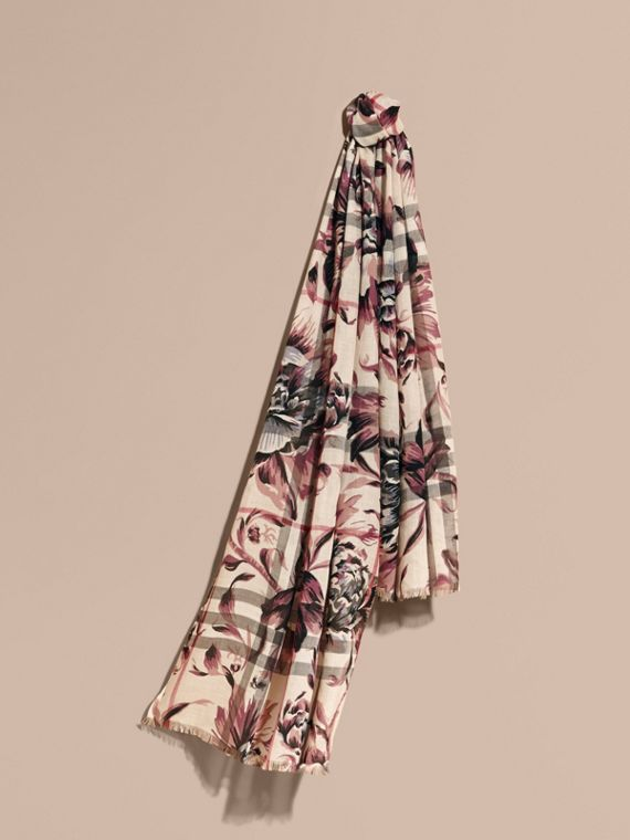 Peony Rose Print Check Wool Silk Scarf in Stone/ash