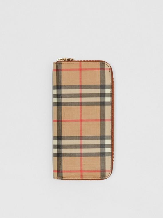 Portefeuille zippé en cuir et Vintage check (Brun Malt)