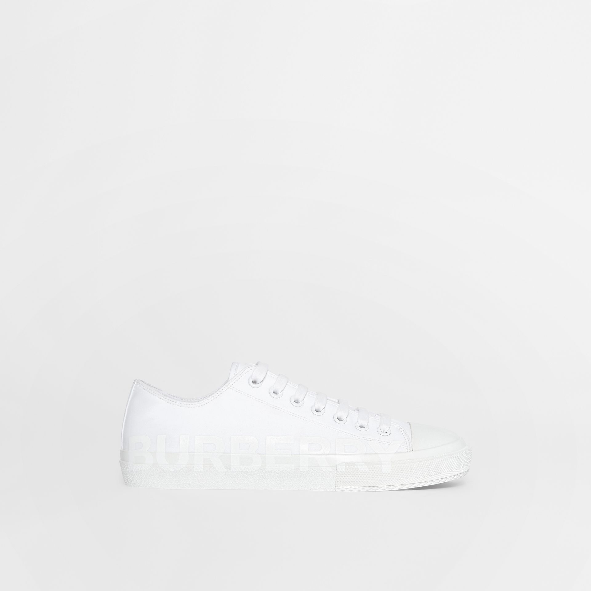 Men's Logo Print Cotton Gabardine Sneakers in Optic White - Men | Burberry - gallery image 7