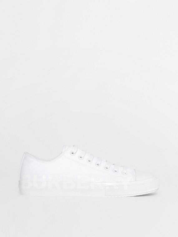 Sneakers en gabardine de coton avec logo (Blanc Optique)