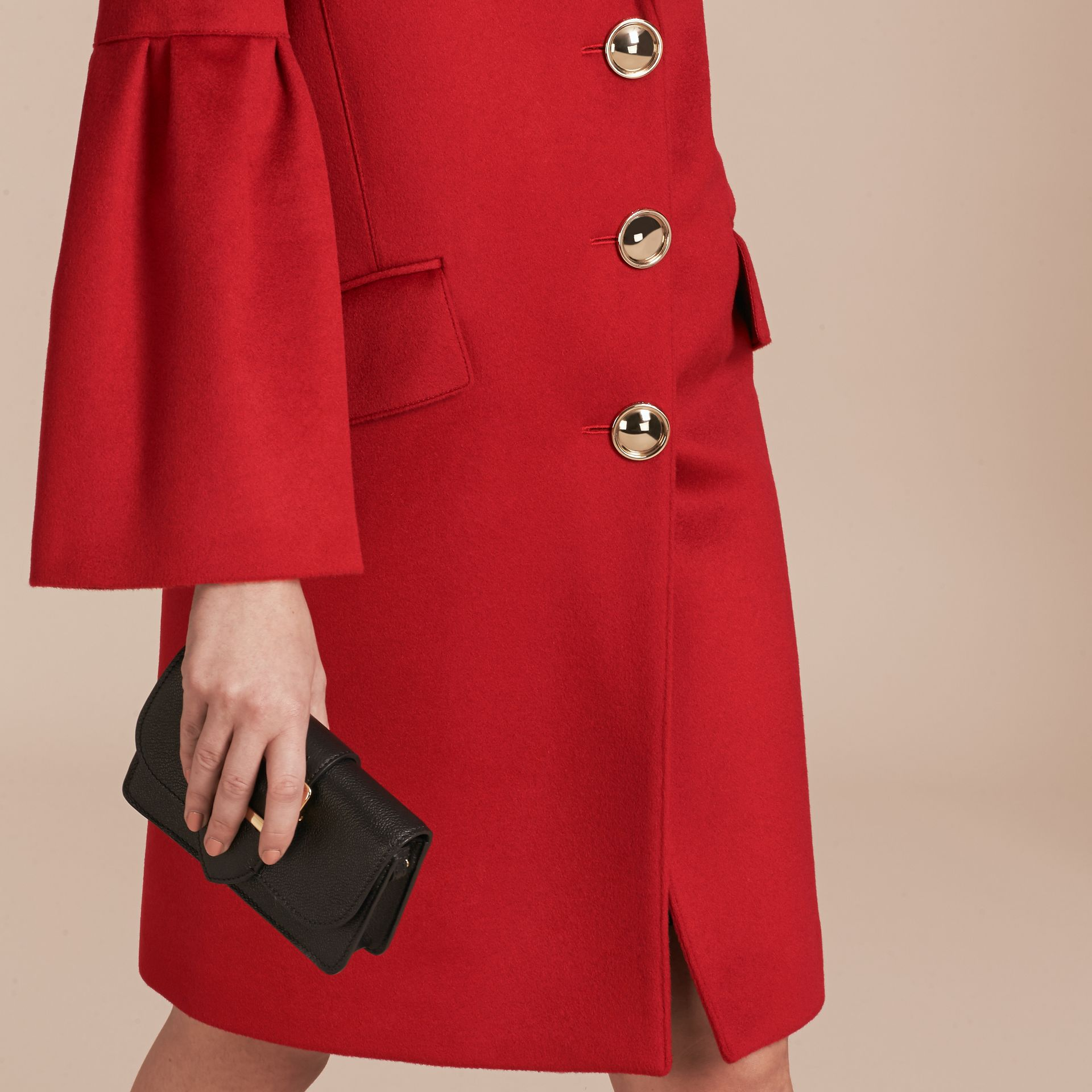 Parade red Tailored Wool Cashmere Coat with Bell Sleeves Parade - gallery image 6