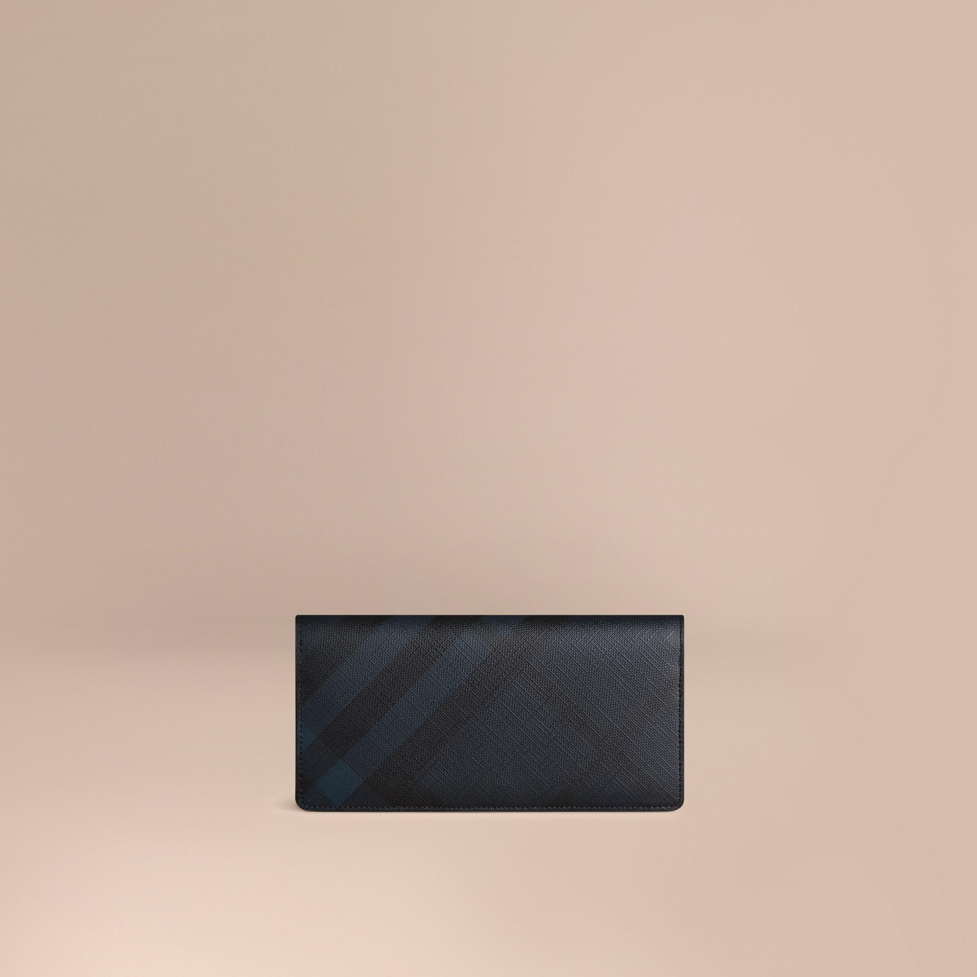 Marine/noir Portefeuille continental à motif Smoked check Marine/noir - photo de la galerie 1