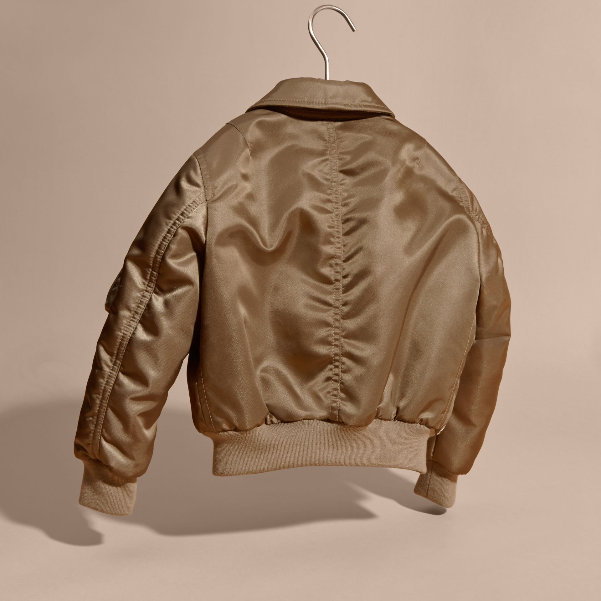 Satin Bomber Jacket with Check Wool Cashmere Lining - gallery image 4