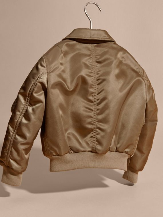 Dark taupe Satin Bomber Jacket with Check Wool Cashmere Lining - cell image 3