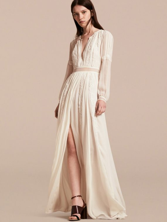 Lace Detail Silk Crepon Floor-length Dress