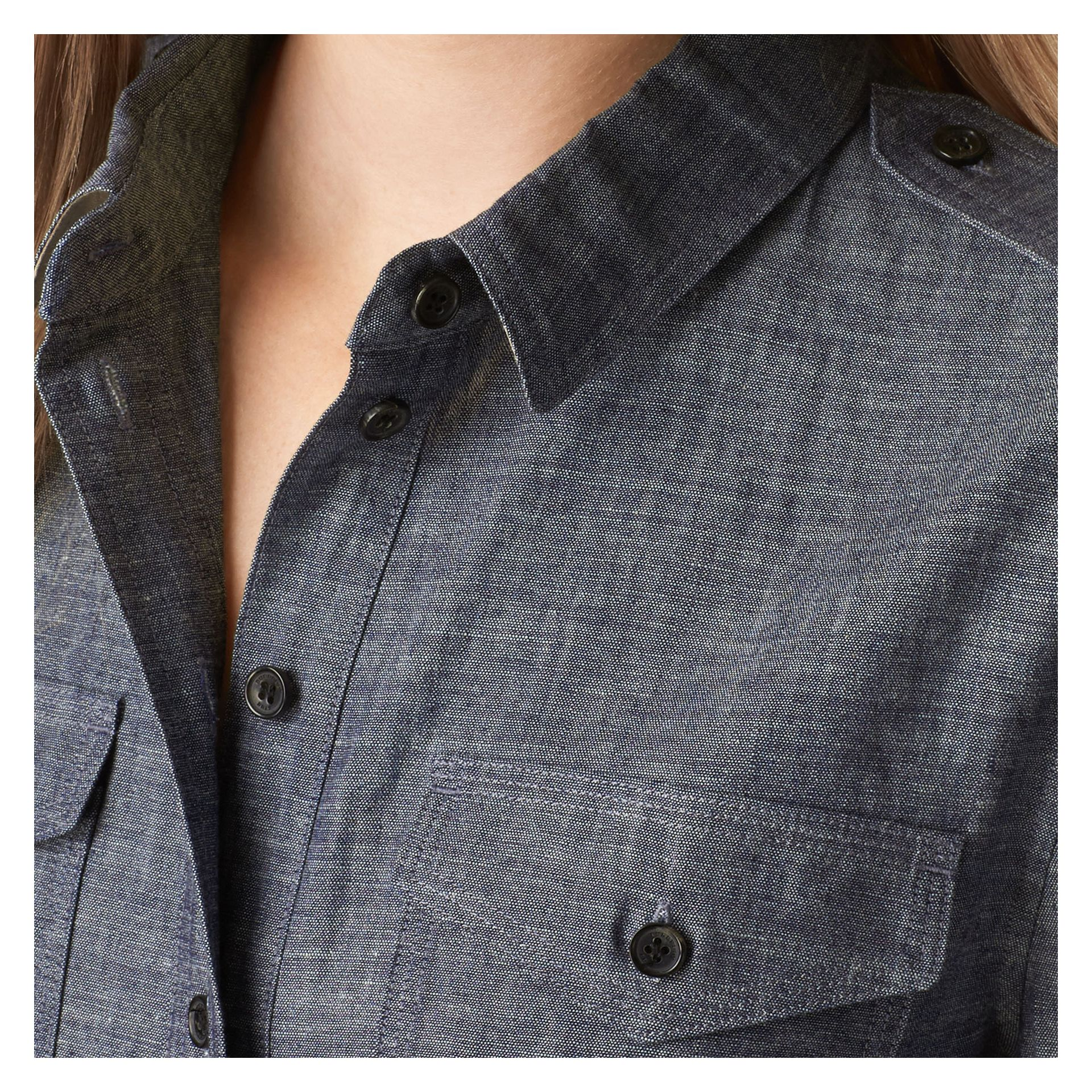 Light indigo Check Detail Cotton Chambray Tunic Shirt - gallery image 2