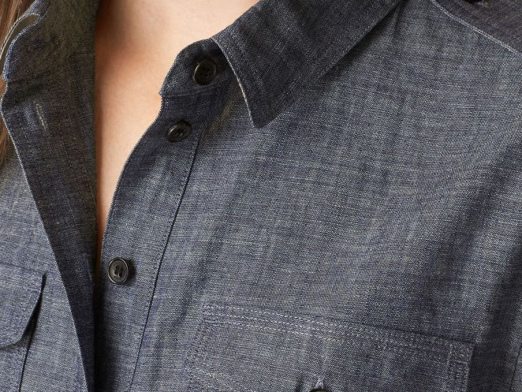 Light indigo Check Detail Cotton Chambray Tunic Shirt - cell image 1