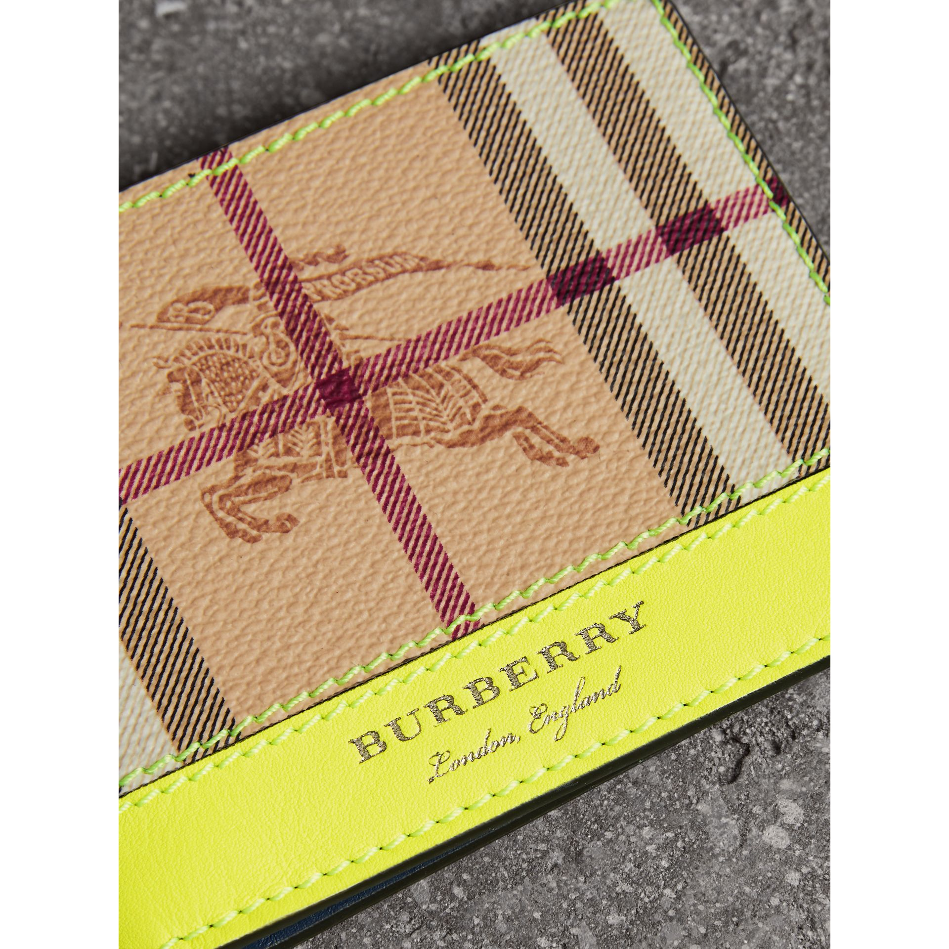 Haymarket Check and Leather Bifold Wallet in Bright Yellow | Burberry United States - gallery image 1
