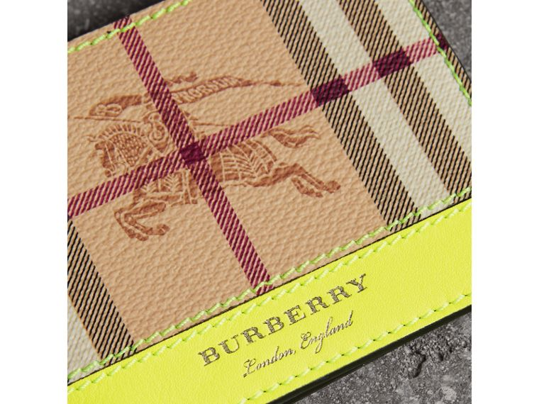 Haymarket Check and Leather Bifold Wallet in Bright Yellow | Burberry United States - cell image 1