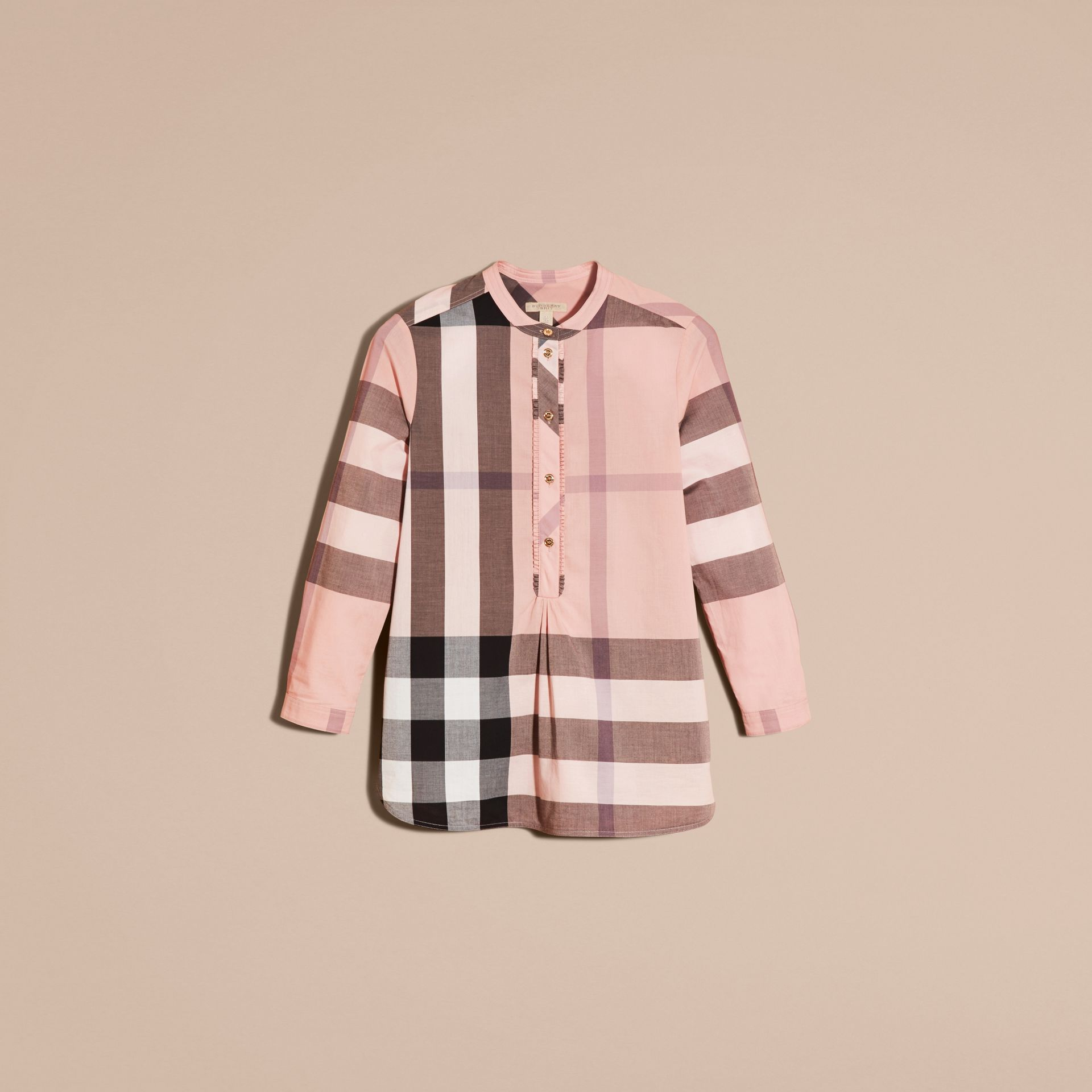 Check Grandad Collar Shirt in Antique Pink - gallery image 4