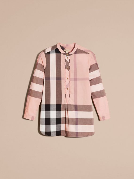 Check Grandad Collar Shirt in Antique Pink - Women | Burberry Singapore - cell image 3