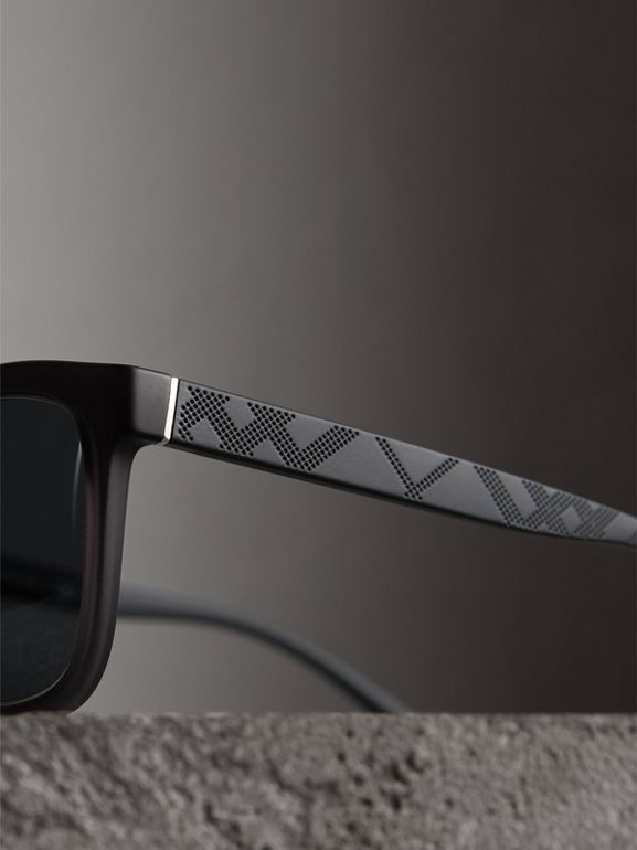 Embossed Check Detail Square Frame Sunglasses in Dark Grey - Men | Burberry - cell image 1