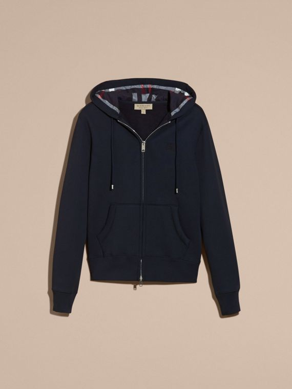 Hooded Cotton Jersey Top in Navy - Men | Burberry - cell image 3