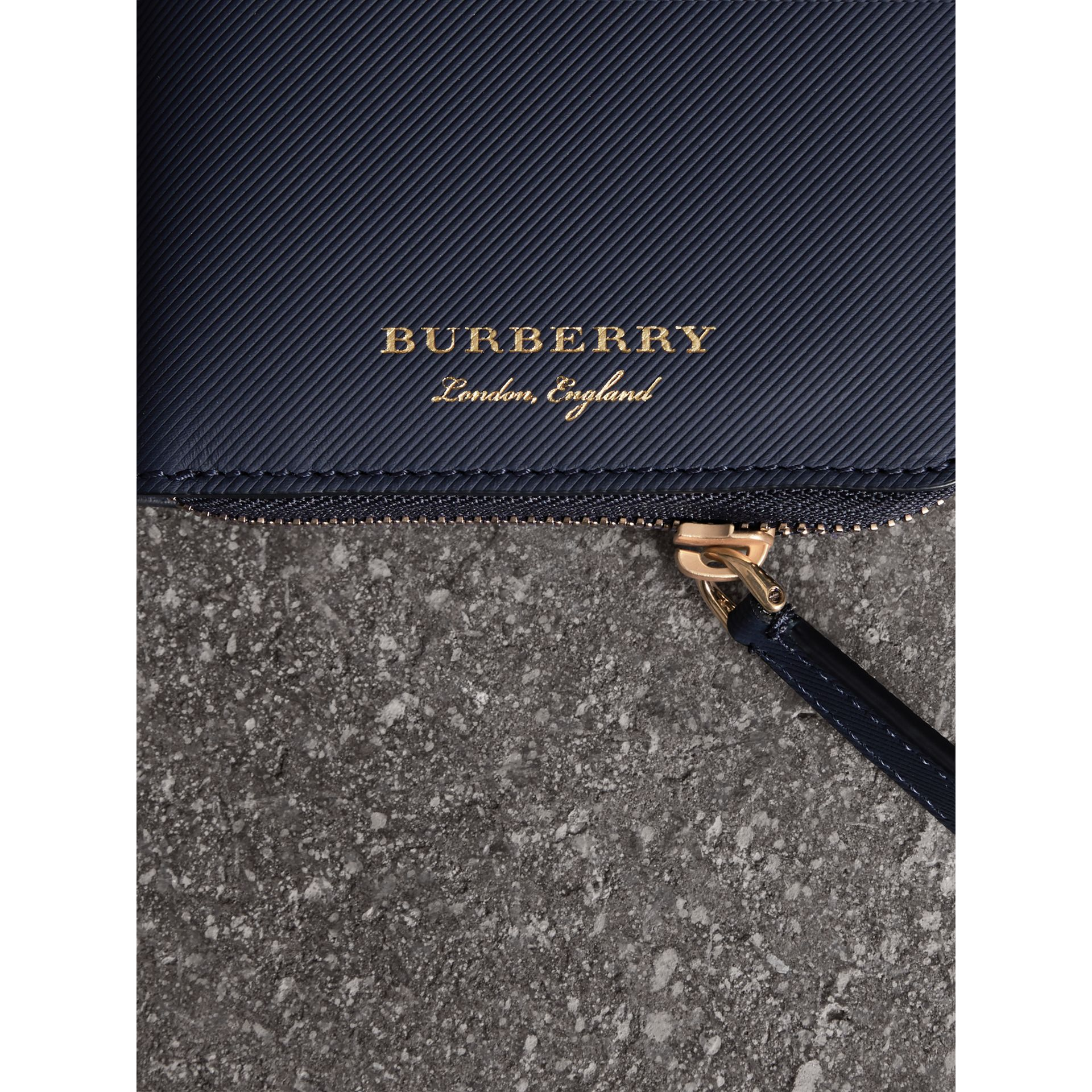 Trench Leather Ziparound Wallet in Ink Blue - Men | Burberry - gallery image 2
