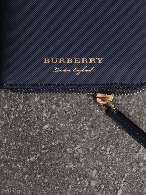 Trench Leather Ziparound Wallet in Ink Blue - Men | Burberry United Kingdom - cell image 1