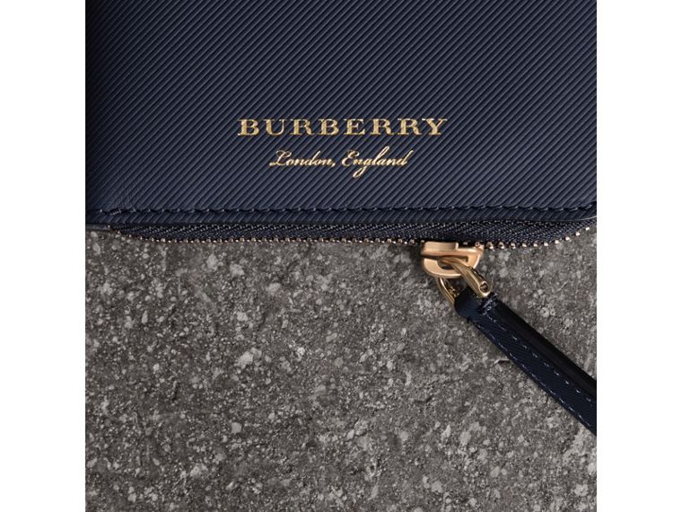 Trench Leather Ziparound Wallet in Ink Blue - Men | Burberry - cell image 1