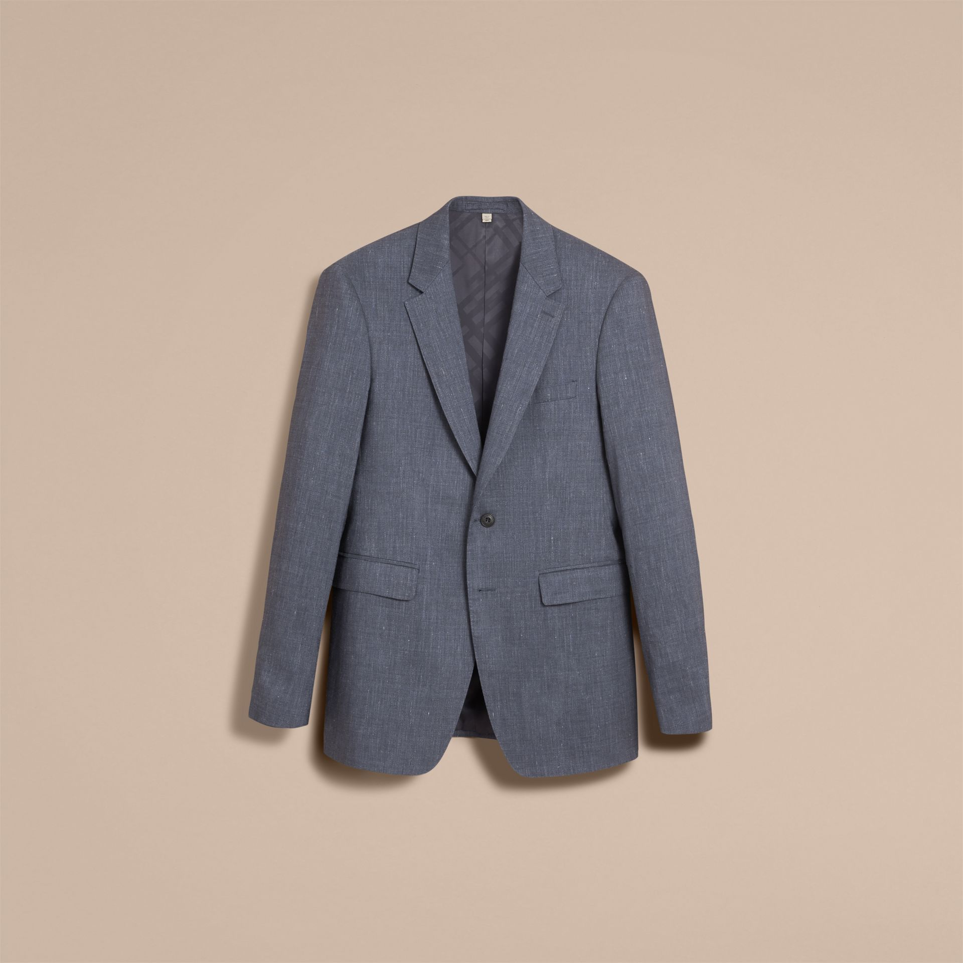 Modern Fit Travel Tailoring Linen Wool Suit in Slate Blue - Men | Burberry - gallery image 4
